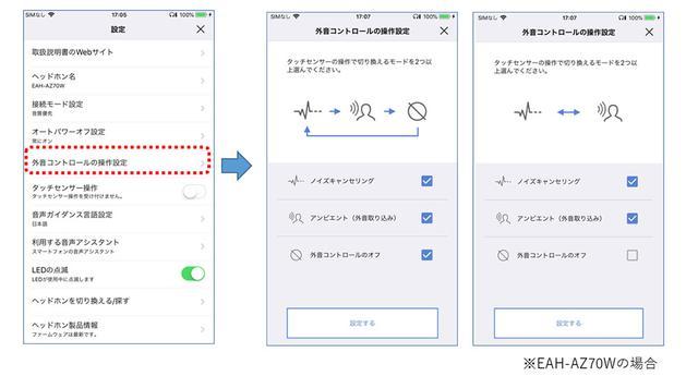 画像: 外音コントロール操作設定のイメージ