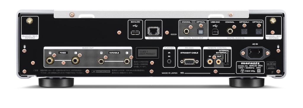 画像: A/B両タイプのUSB端子(Bタイプは最大DSD11.2MHz、PCM384kHz/32ビットまで再生可能)やネットワーク再生用のRJ45端子、無線LAN(Wi-Fi)/Bluetooth用アンテナなど、デジタルファイル再生のための機能が充実