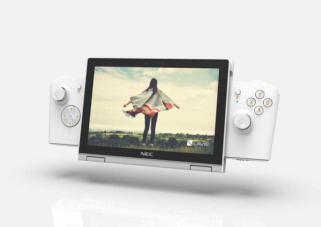 画像: ゲーム用オプションを装着した写真。パソコン本体を360度回転させタブレットモードにした状態で組み合わせる。オプションは単4乾電池2本で駆動していた