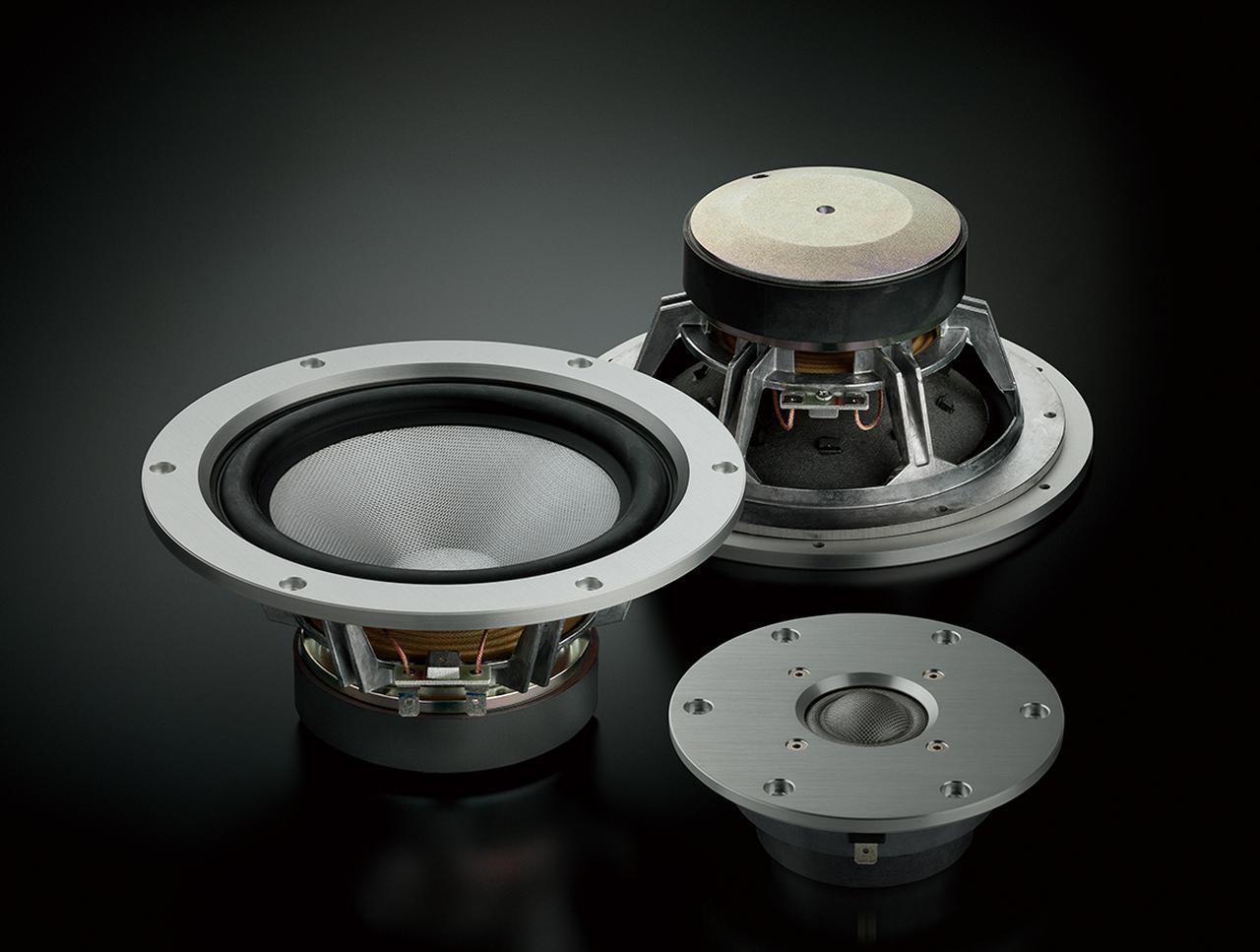 画像: トゥイーターとウーファーには世界一の強度を備えた繊維素材であり、ベリリウムの音速とアラミド繊維の内部損失、両方の特性を併せ持つ「ZYLON」を使用。そこにモネル合金蒸着コーティングを施したヤマハ独自の振動板が採用されている。トゥイーターはNS-5000と共通、ウーファーは今回新たに開発された