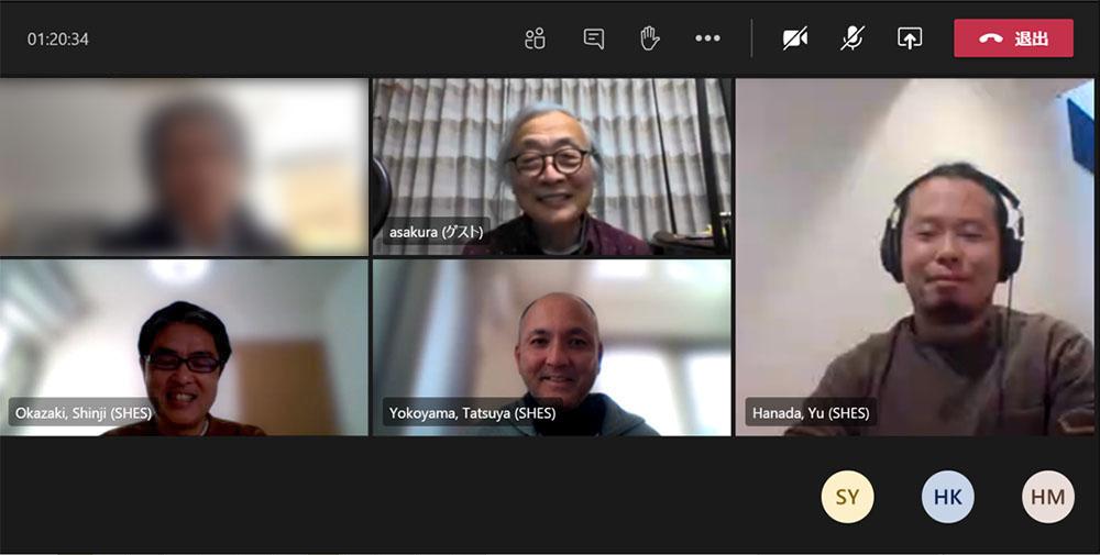 画像: 今回のリモートインタビューに協力いただいた、ソニーホームエンタテインメント&サウンドプロダクツ株式会社 V&S事業本部 事業開発部の皆さん。左下段が統括部長の岡崎真治さん、中央下段が担当部長の横山達也さん、右はコンテンツ開発課の花田 祐さん