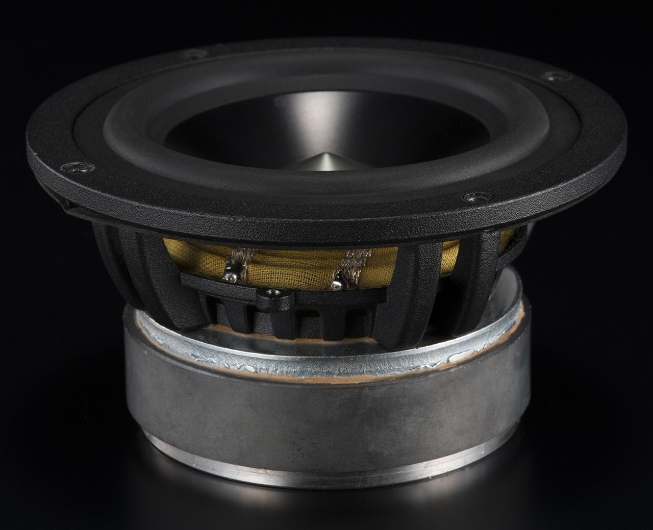 画像: ホーン型リボントゥイーターに見合うハイスピードかつ強力な低域ユニットもエアパルスの特徴だ。A80搭載の115mmウーファー(写真)は、硬質アルマイト処理されたアルミニウム合金の振動板とネオジム磁石で駆動する。A300Pro搭載の165mmユニットは、いわゆるショートボイスコイル型と呼ばれる強力な仕様で、大振幅再生時もボイスコイルが磁気ギャップから飛び出さない設計が施されている