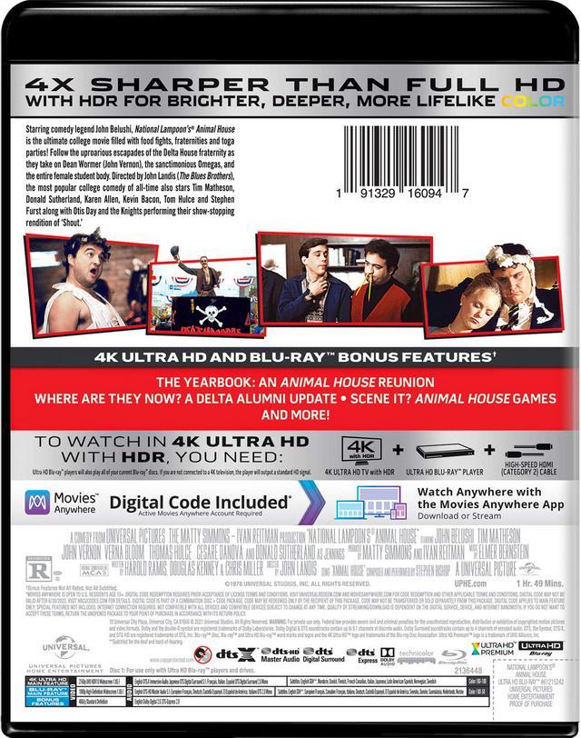 画像: ANIMAL HOUSE 4K Ultra HD + Blu-ray Universal Studios | 1978 | 109 min | Rated R | May 18, 2021 Price: $29.98 Video Codec: HEVC / H.265 Resolution: 4K (2160p) HDR: HDR10 Original aspect ratio: 1.85:1 Audio English: DTS:X French: DTS Mono Italian: DTS Mono Spanish: DTS Mono Japanese: DTS 5.1 Subtitles English SDH, French, Italian, Japanese, Danish, Finnish, Mandarin (Simplified), Mandarin (Traditional), Norwegian, Swedish Special Features (Blu-Ray) The Music of Animal House The Yearbook: An Animal House Reunion Where Are They Now? A Delta Alumni Update SceneIt? Animal House Theatrical Trailer
