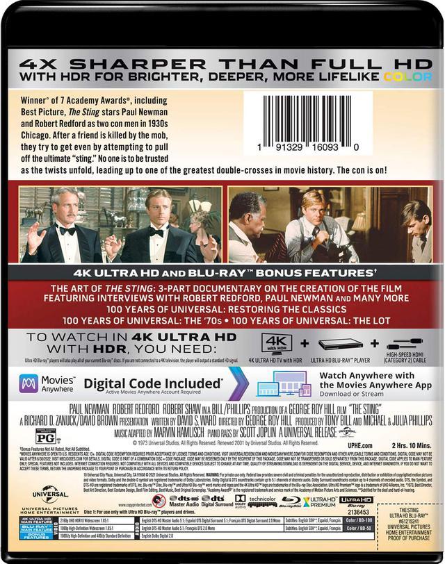 画像: THE STING 4K Ultra HD + Blu-ray Universal Studios | 1973 | 129 min | Rated PG | May 18, 2021 Price: $29.98 Video Codec: HEVC / H.265 Resolution: 4K (2160p) HDR: HDR10 Original aspect ratio: 1.85:1 Audio English: DTS-HD Master Audio 5.1 French (Canadian): DTS Mono Spanish: 5.1 Subtitles English SDH, French, Spanish Special Features (Blu-Ray) The Art of The Sting - 3-part documentary on the creation of the film, featuring interviews with Robert Redford, Paul Newman, and many more 100 Years Of Universal: Restoring The Classics 100 Years Of Universal: The '70s 100 Years of Universal: The Lot Theatrical Trailer
