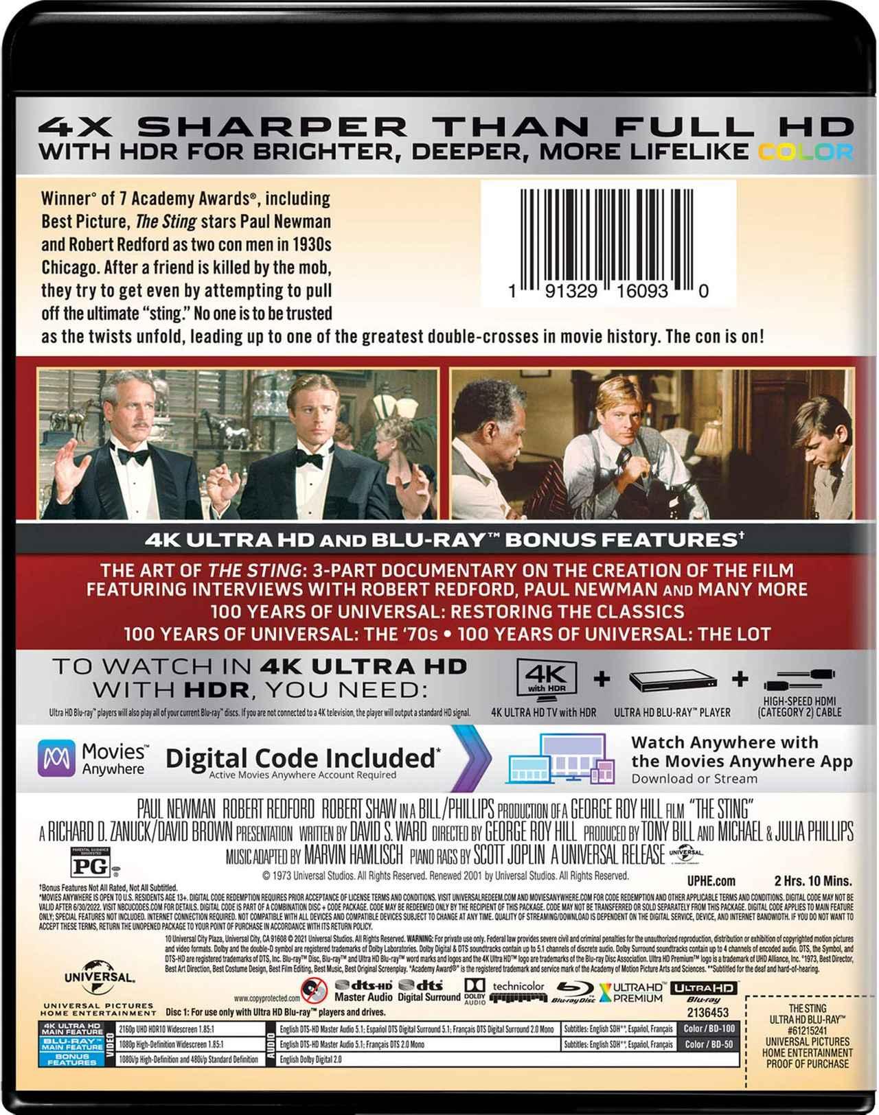 画像: THE STING 4K Ultra HD + Blu-ray Universal Studios   1973   129 min   Rated PG   May 18, 2021 Price: $29.98 Video Codec: HEVC / H.265 Resolution: 4K (2160p) HDR: HDR10 Original aspect ratio: 1.85:1 Audio English: DTS-HD Master Audio 5.1 French (Canadian): DTS Mono Spanish: 5.1 Subtitles English SDH, French, Spanish Special Features (Blu-Ray) The Art of The Sting - 3-part documentary on the creation of the film, featuring interviews with Robert Redford, Paul Newman, and many more 100 Years Of Universal: Restoring The Classics 100 Years Of Universal: The '70s 100 Years of Universal: The Lot Theatrical Trailer