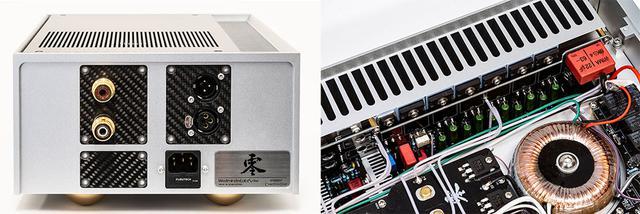 画像: リアパネルにはXLRバランスの入出力端子を備える。右下には「Rei」というネーミングの由来となった「零」の文字も。写真右は搭載されたトランジスター。基板の上側と下側にそれぞれ6基、合計12基が使われている