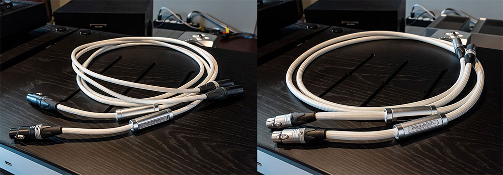 画像: ウェストミンスターラボではアナログケーブルもラインナップしている。写真左は「STANDARD」シリーズの2.5mで価格は¥750,000、右は「ULTRA」シリーズの1.5mで価格は¥1,100,000(どちらもペア、税別でカーボンファイバーシールドなし)。今回はプレーヤーとプリアンプの間で使っている