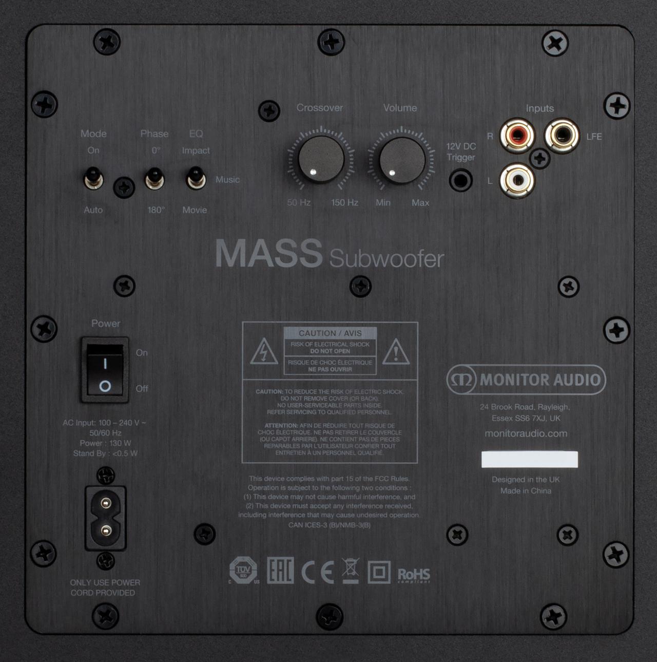 画像: 今回の視聴ではMASS-2G Subwooferのクロスオーバーを100Hzに設定して視聴した(MASS-2G Satelliteはオールスモールに設定)。アンプは120WのクラスD、接続端子はLFEとRCA(L/R)の2系統を配備
