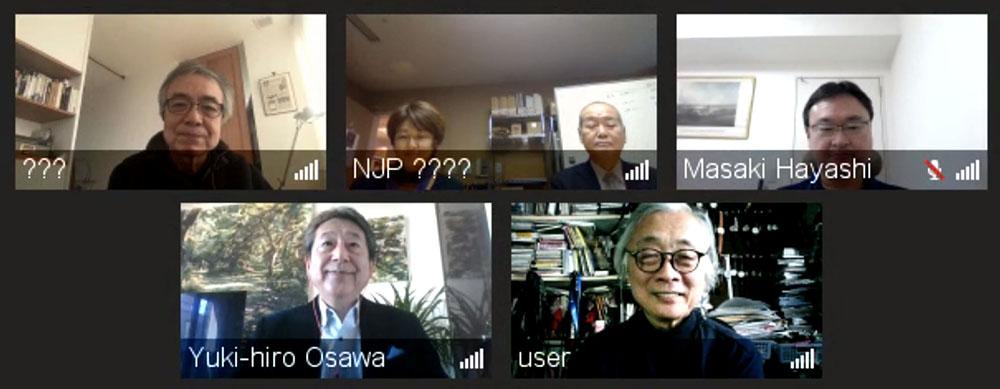 画像: 今回のインタビューはリモートで行った。写真左上から深田さん、新日本フィルハーモニー交響楽団の小田さんと貝原さん、ドルビージャパンの林さん、左下が同じくドルビージャパンの大沢さんで、右下が麻倉さん