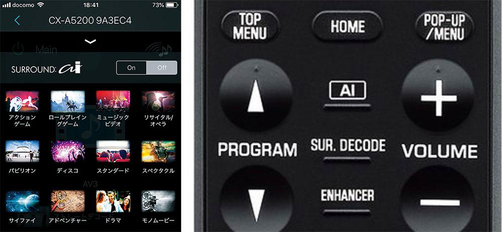 画像: 左はスマホ用アプリ「AV Controller」のサラウンドモード選択画面(CX-A5200につないだ場合)。ここからシネマDSPのプログラムを切り替え可能。右はCX-A5200の付属リモコンで「SURROUND:AI」のオン/オフは中央のボタンで行える