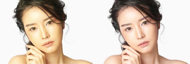 画像: 「ナチュラル美肌トーン」機能は、ピークのてかりやシャドウ部の黒ずみ、カラーシフトのある信号(左)も、自然でナチュラルな肌色(右)として再現してくれる