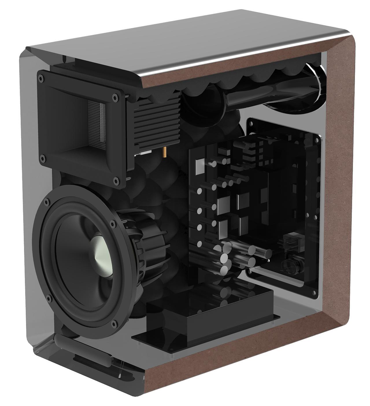 画像: A100 BT5.0(R側)の断面イメージ。本体背面にエレクトロニクス用の基板が備わる。内部に波状の吸音材で調整が施されるほか、バスレフポートの形状で風切り音を抑えるなど正当的手当てがされている