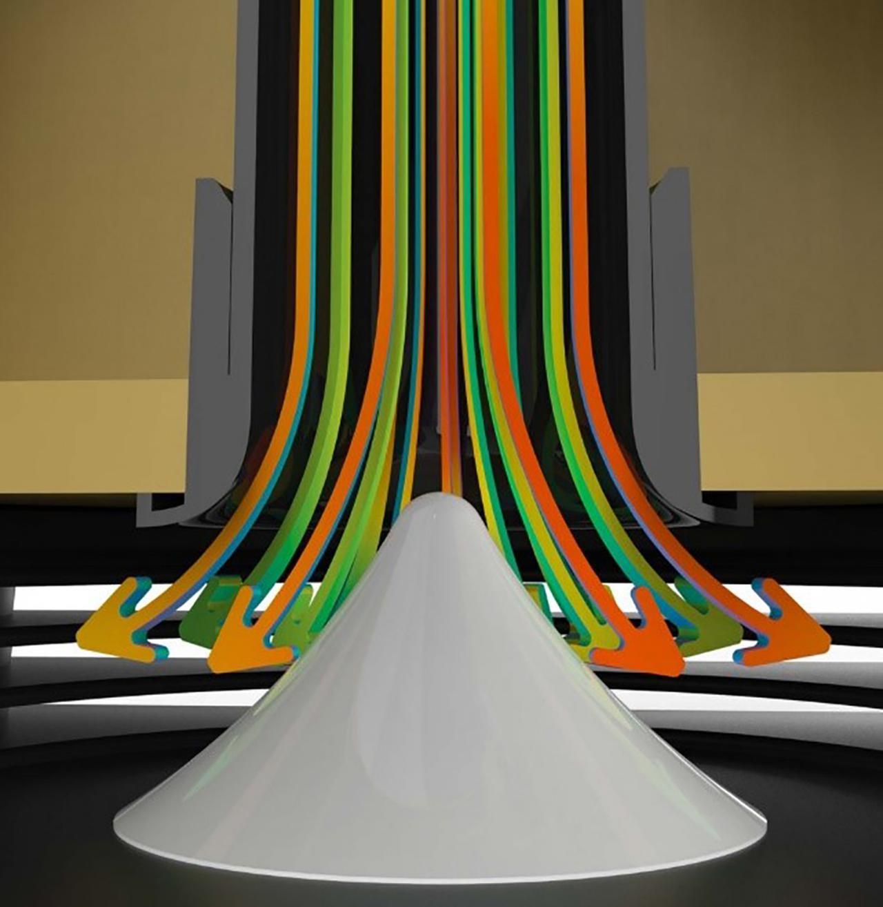 画像: ダウンファイヤー型のバスレフポートには特許技術である「BassTrax Tractrix(ベーストラックス・トラクトリックス)ポート・ディフューザーシステム」を投入。低域ポートをエンクロージャーの底に下向きに配し、その開口部に亜円錐状のディフューザーを設けることで、ポートから発する垂直プレーン波エネルギーを90°向きを変えて水平360度の均一な波面に変換する。リアポートなどのバスレフシステムでは避けられない「壁面から低域反射」を抑え、クリアーで力強い低域再生を叶える