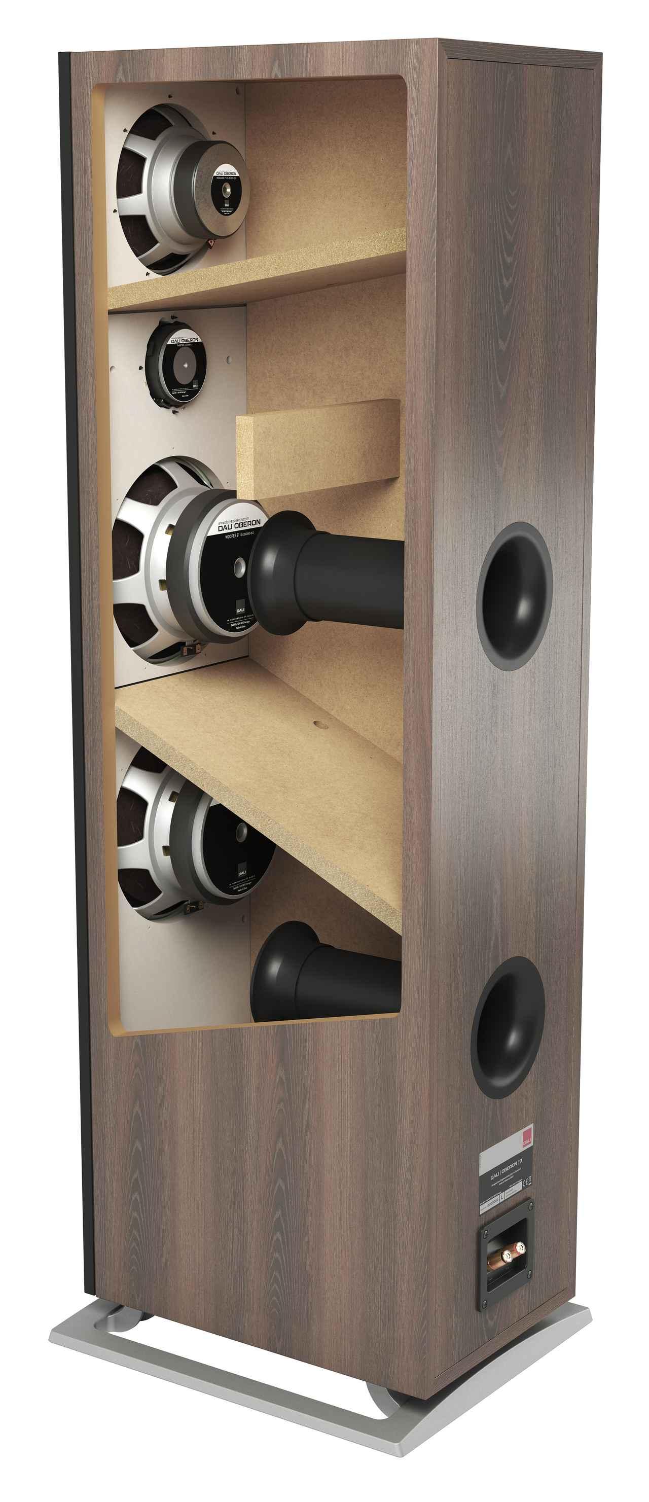 画像: エンクロージャー内部の構造を見ると、ミッドレンジとウーファーそれぞれに別の部屋に仕切られていることがわかる。ウーファーはそれぞれに別のバスレフポートが配されて、低音の抜けのよさを追求している
