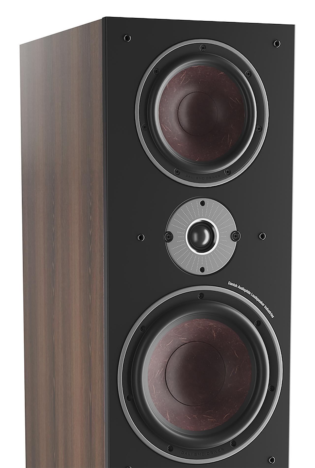 画像: ミッドレンジとウーファーにはダリのシグネイチャー素材である赤茶色のウッド・ファイバーコーンを搭載。ナチュラルでオーガニックなサウンドを志向している