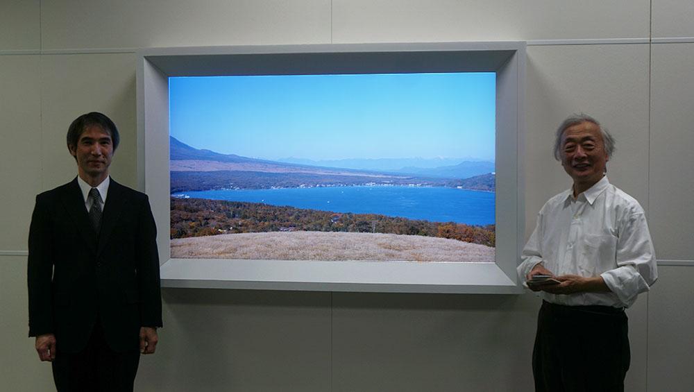画像: 写真左が I3研究所株式会社 代表取締役 社長の近岡志津男さん。今回は、「統合情景」のデモと解説を担当していただきました