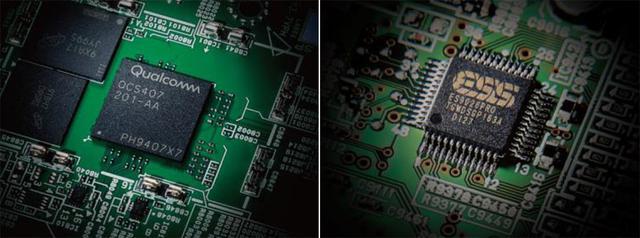 画像: 新たに採用されたクァルコムのDSP「QCS407」(左)。右はRX-A8AとRX-A6Aに搭載されたESS製のD/Aコンバーター「ES9026PRO」