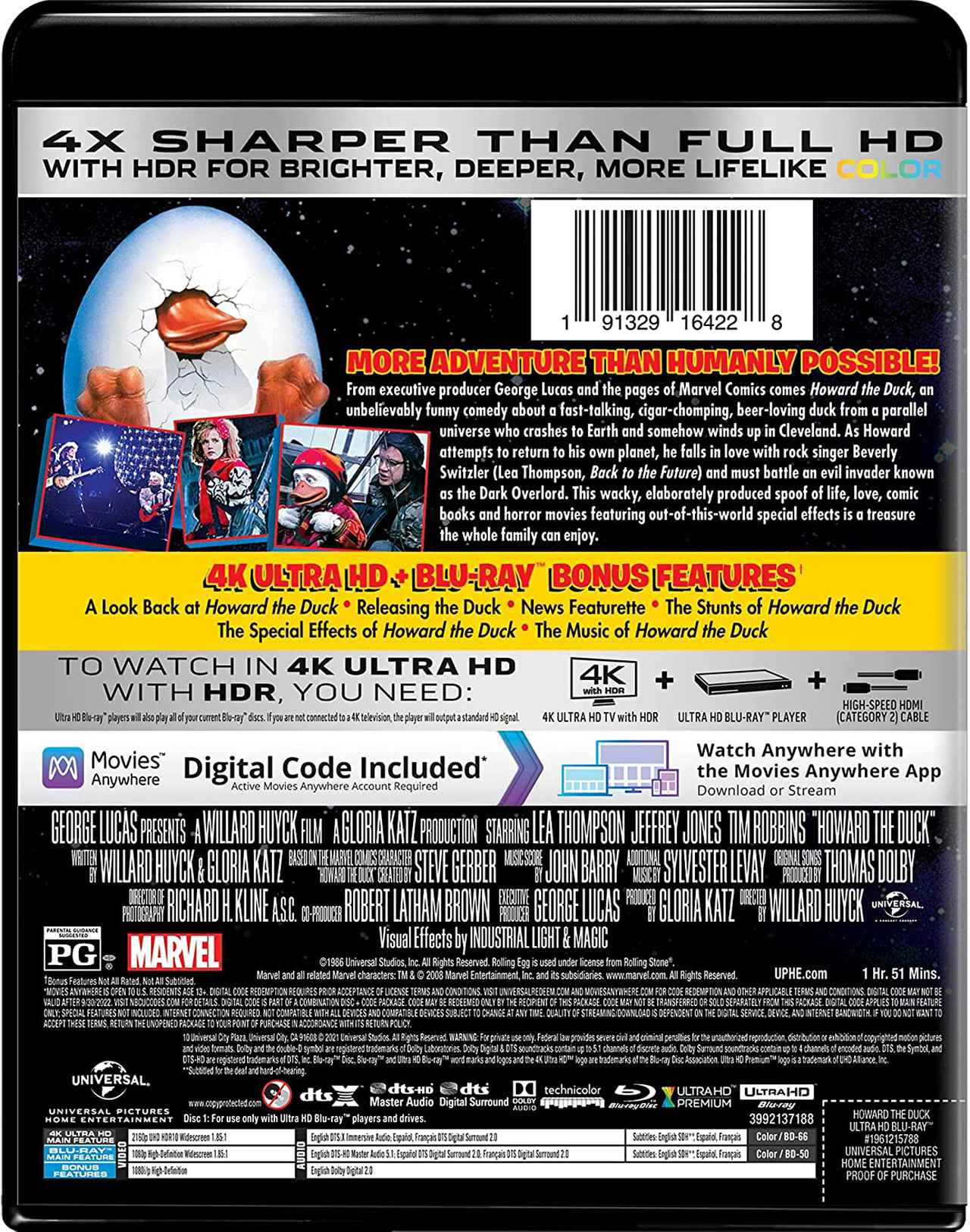 画像2: 【Update】G・ルーカス製作SF活劇が4K化『ハワード・ザ・ダック/暗黒魔王の陰謀』【海外盤Blu-ray発売情報】