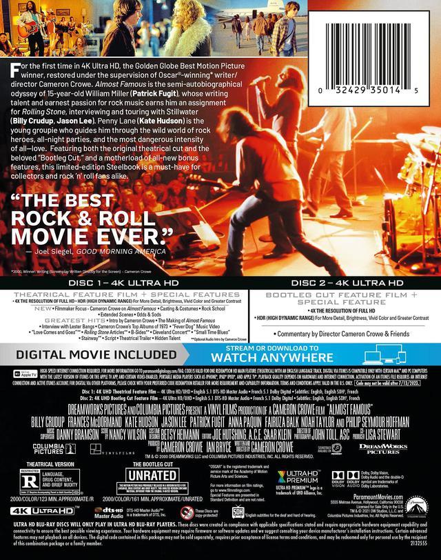 画像1: 4K青春音楽ムービー『あの頃ペニー・レインと』【海外盤Blu-ray発売情報】
