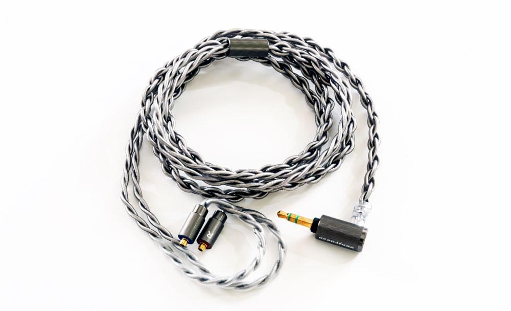 画像: ▲Acoustubeブランドで展開されているリケーブル「ARS100」シリーズ。2重ツイスト構造を採用した16芯仕様のハイエンドモデルだ。シルバーコートOFCと極細OFCによるハイブリッド構造により、導体抵抗とノイズを大幅に抑制。高純度な伝送を可能とし、クリアーな再現を行なえるとしている。価格はPentaconn Earの4.4mm仕様「ARS133」で¥32,980(税込)
