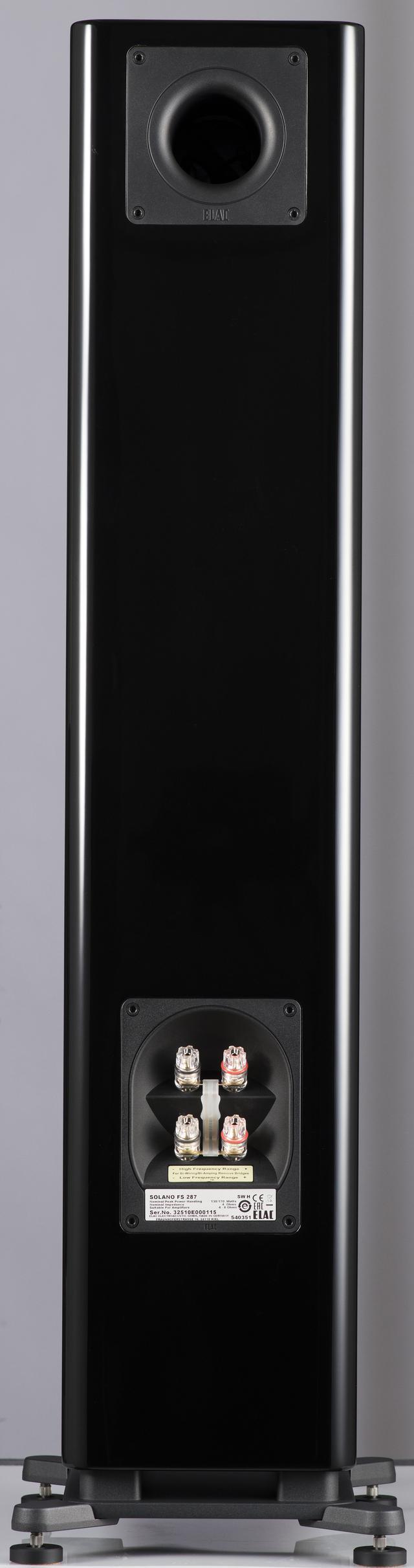 画像: 両モデルの背面。どちらもバスレフポートは壁の影響を受けにくいダウンファイヤータイプを採用している(FS287は上部にもうひとつバスレフポートがある)。スピーカーターミナルは共通で、バイワイヤリング接続に対応。今回はシングル/バイワイヤリング接続の両方を試した。また、ジャンパープレートを自作ケーブルに交換するだけでも音質向上効果を期待できる