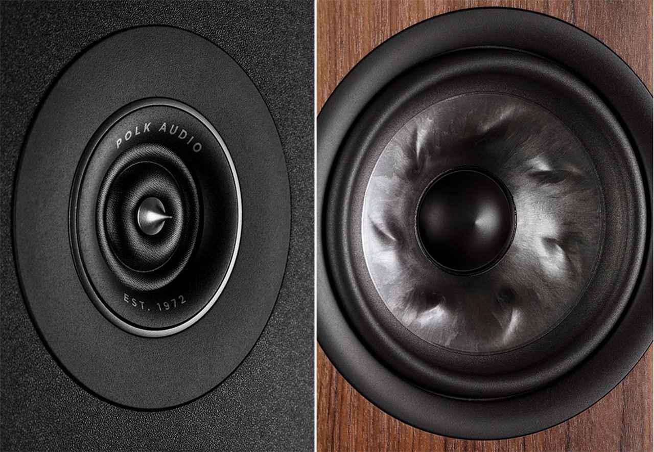 画像: 左がピナクル・リングラジエーターを採用したトゥイーターで、R900には0.75インチ、他のモデルには1インチタイプが搭載されている。右はウーファーやミッドレンジに作用されたタービンコーン振動板