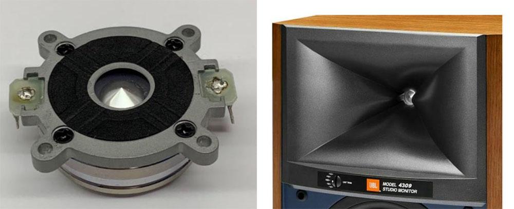 画像: リングラジエーター型コンプレッションドライバー「D2410H-2」(左)と、独自形状のHDIホーン