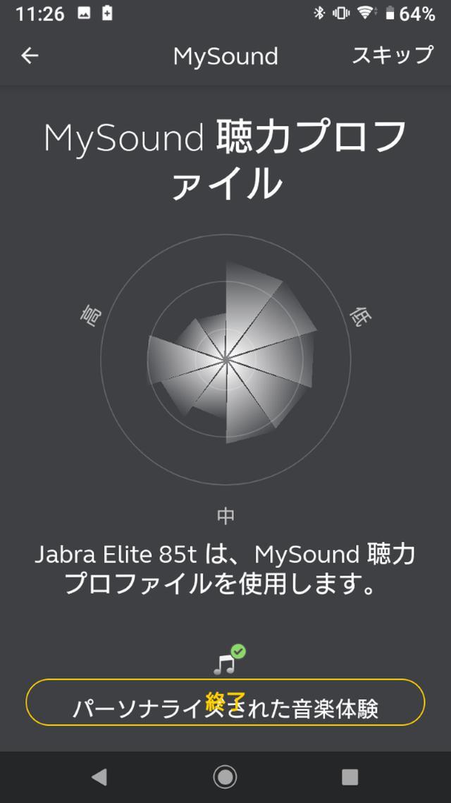 画像: ユーザーの耳の聴こえ方を測定してくれる機能もあり。1分ほどで測定は完了。プロファイルを作成すると、筆者の場合、高域の聴こえ方が若干改善された