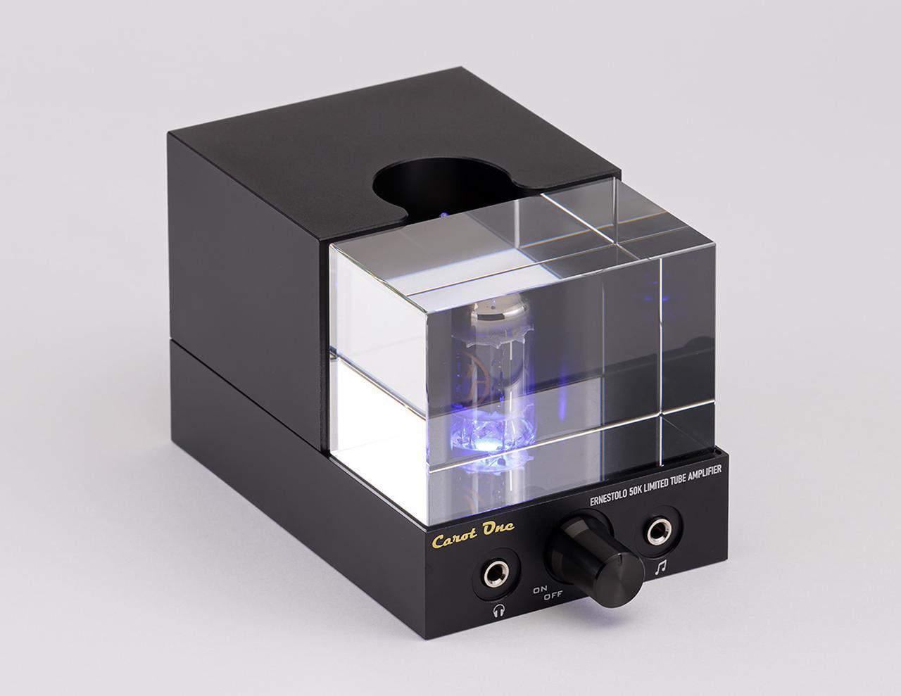画像: キャロットワン ERNESTOLO 50K EX EVO ¥79,000 ●定格出力:12W+12W(8Ω)、25W+25W(4Ω) ●入力端子: LINE1系統(RCAアンバランス:リアパネル/3.5mmステレオミニプラグ:フロントパネル) ●スピーカー出力端子:1系統(バナナプラグ対応) ●ヘッドフォンアンプ部出力:600mW/ch、32Ωヘッドフォン ●使用真空管:ECC802S GOLD(JJ Electronic、プリアンプ部) ●寸法/重量:W76×H75×D150mm(突起物含む)/1.1kg ●備考:ACアダプター付属 ●問合せ先:(株)ユキム