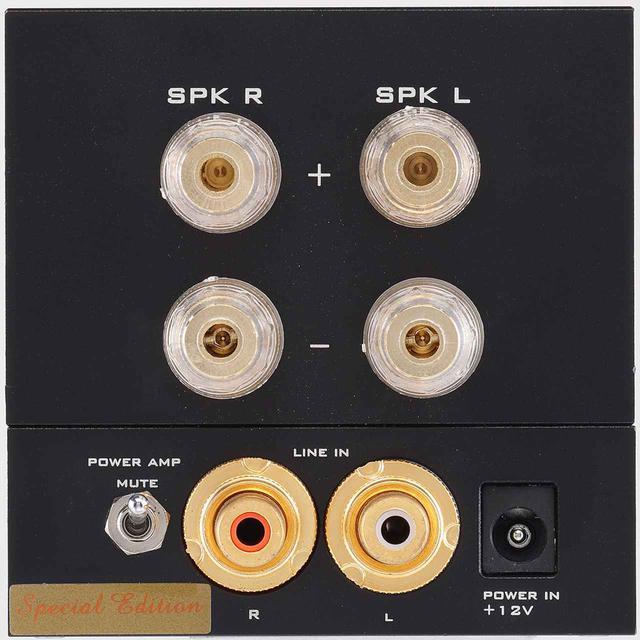 画像: リアビュー。スピーカー出力端子はバナナプラグ対応で1系統。下部のRCAピン入力端子の左にミュートスイッチを配する。