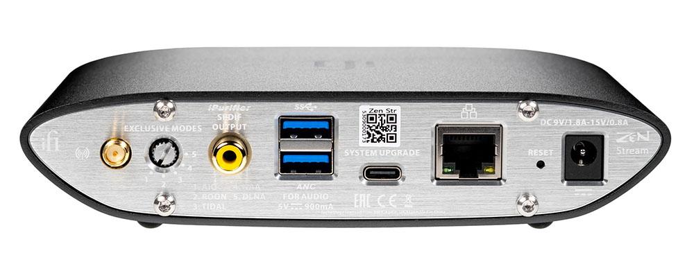 画像: 「ZEN Stream」のリアパネル。中央にあるUSB Type-A端子は、上側がUSB HDD等のストレージをつなぐ入力用で、下がUSB DACへの出力用