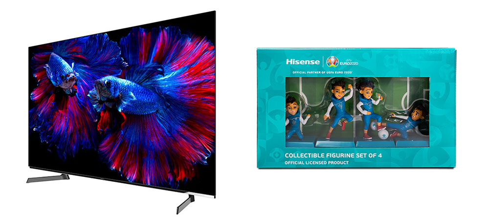 画像: プレゼントの賞品となる55型有機ELテレビ「55X8F」(左)とEURO2020オリジナルフィギア(右)