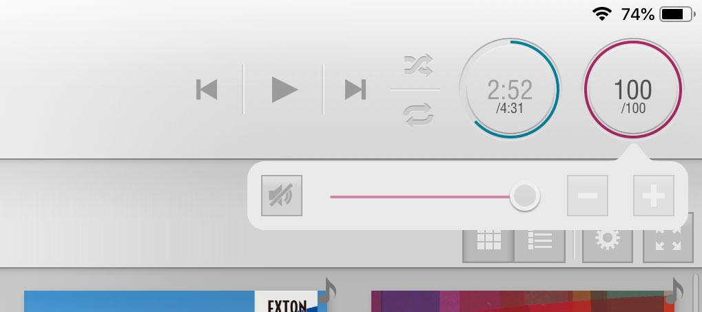 画像: プレーヤーのVolume Controlをオンにすると、アプリ画面右上のボリュウムが有効になるので、ここで音量調整を行えばいい