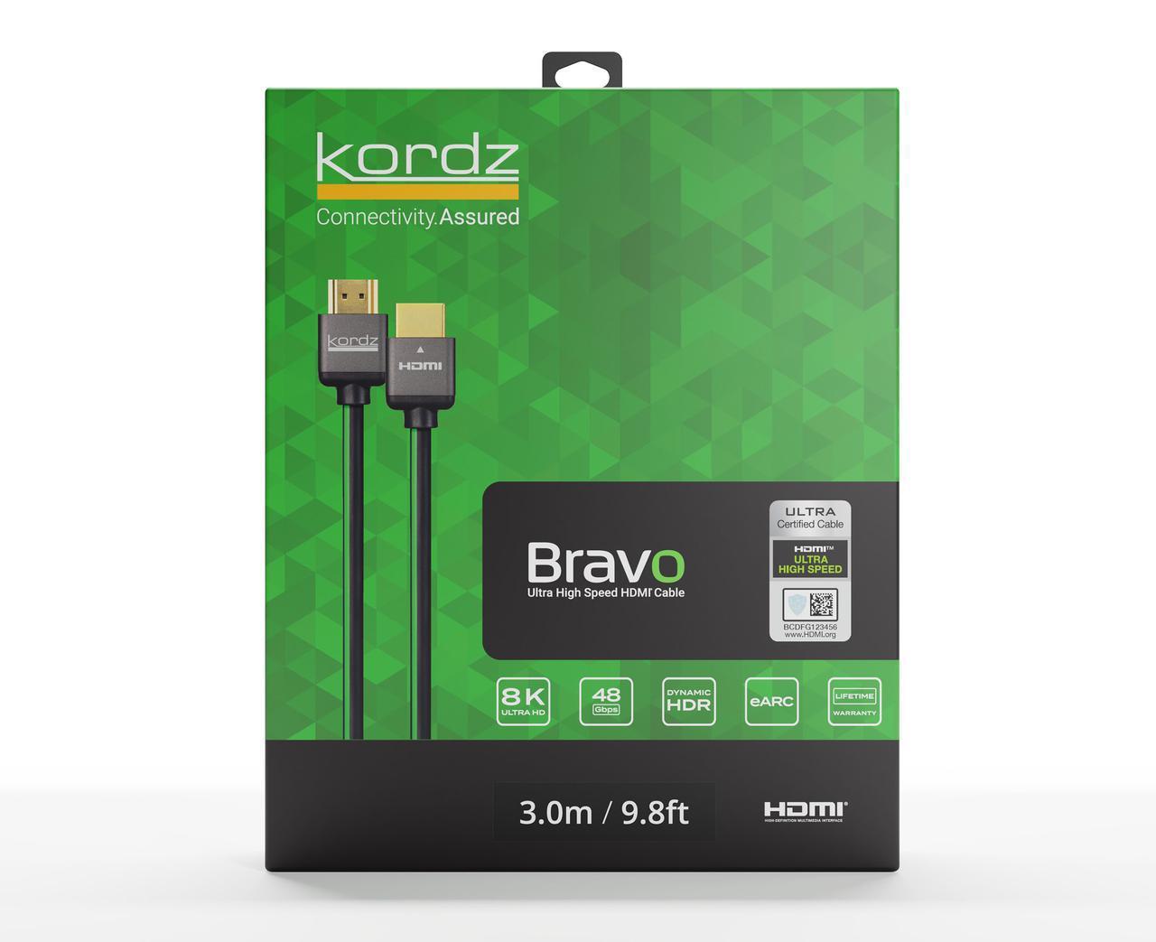 画像: Kordzから、48Gbps対応の新製品HDMIケーブル「Bravo」シリーズが登場。非圧縮8K/60p、4K/120p信号を伝送可能で、1.0mで市場想定価格は¥13,200