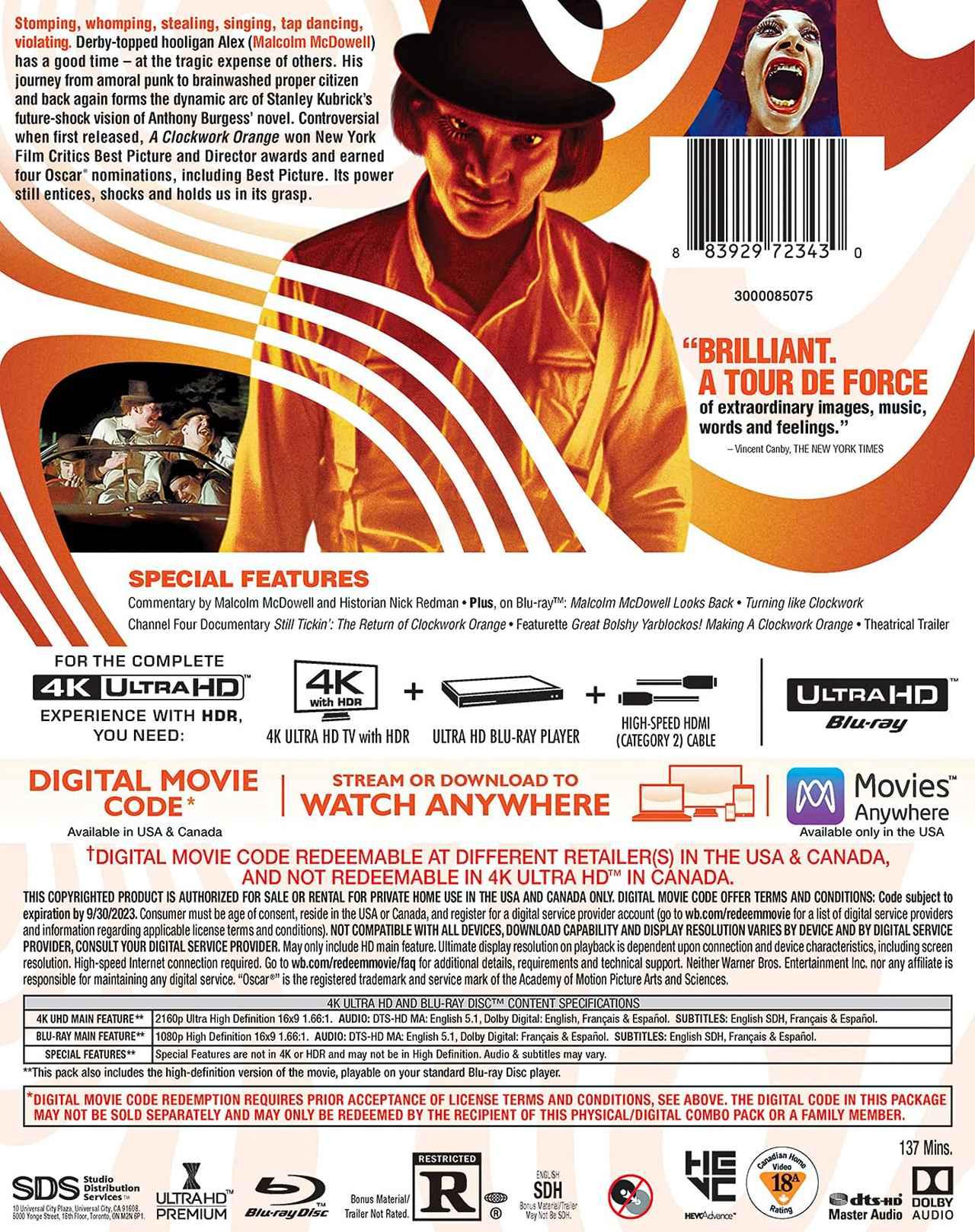 画像2: キューブリック監督傑作SFが4K化『時計じかけのオレンジ』【海外盤Blu-ray発売情報】