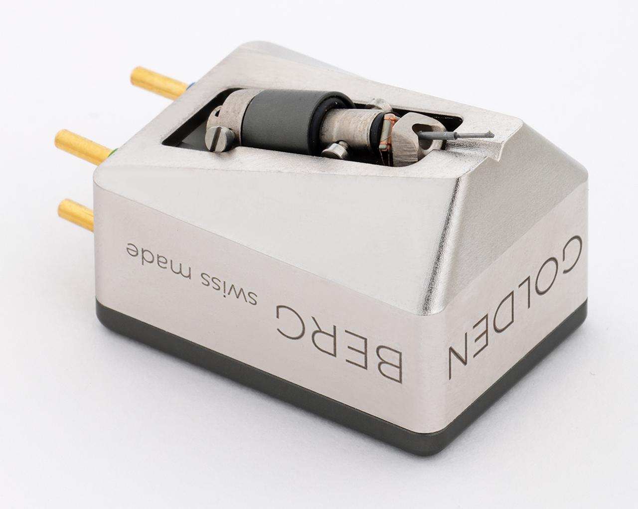 画像: ゴールデンバーグ Brilliant ¥450,000 ●発電方式:MC型 ●出力電圧:0.4mV(1kHz、5cm /sec) ●インピーダンス:6Ω ●推奨負荷インピーダンス:100Ω〜300Ω ●適正針圧:2.3g〜2.5g ●自重:13.0g ●針交換価格:¥225,000 ●備考:針交換はトランスデューサー/ダンパーの交換とアライメント調整(スイス本国で作業) 問合せ先:(株)ユキム