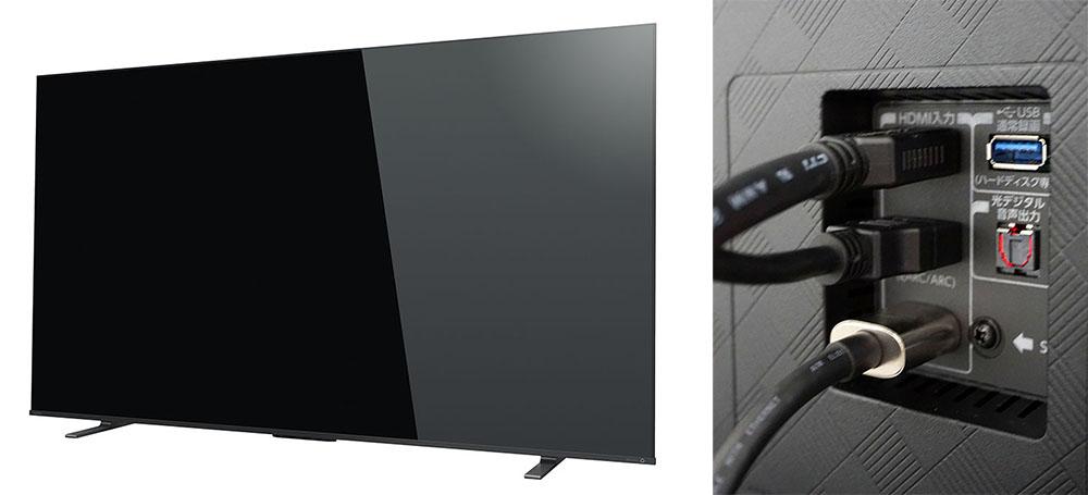 画像: eARCに対応したレグザ新製品「65X8900K」を使って、SOUND SPHEREの視聴を行っている。写真右は実際の接続の様子