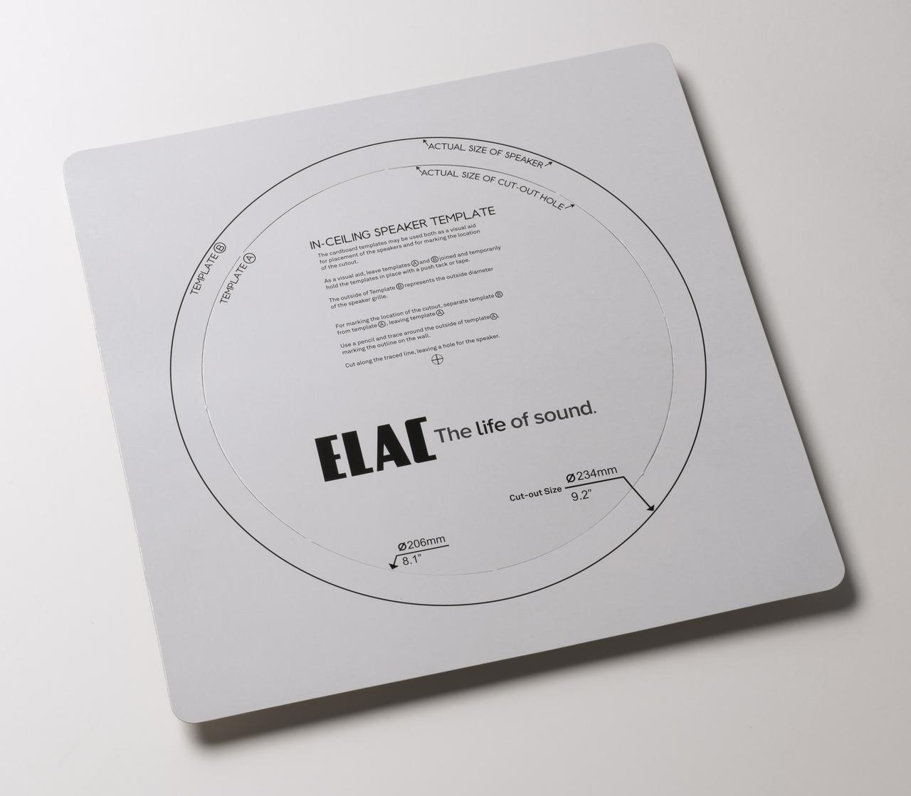 画像: ▲付属の型紙。内側部分を取り外すとちょうど直径206mmの取付け用サイズとなる。外側の実線がスピーカーの外形サイズ