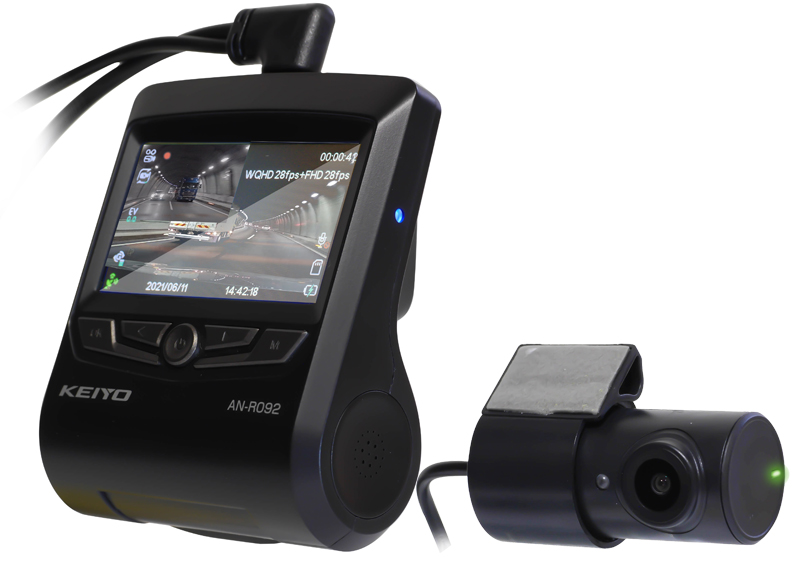 画像1: もうmicro SDはいらない!? 高信頼メモリー64GB内蔵の前後2カメラ搭載ドライブレコーダー登場。KEIYO