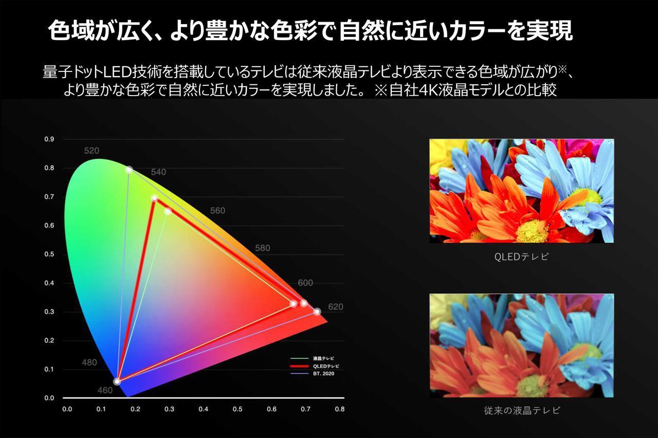 画像: 色域(色の再現範囲)の広さもQLED液晶のメリット。自然の色範囲に近くナチュラルな再現が魅力