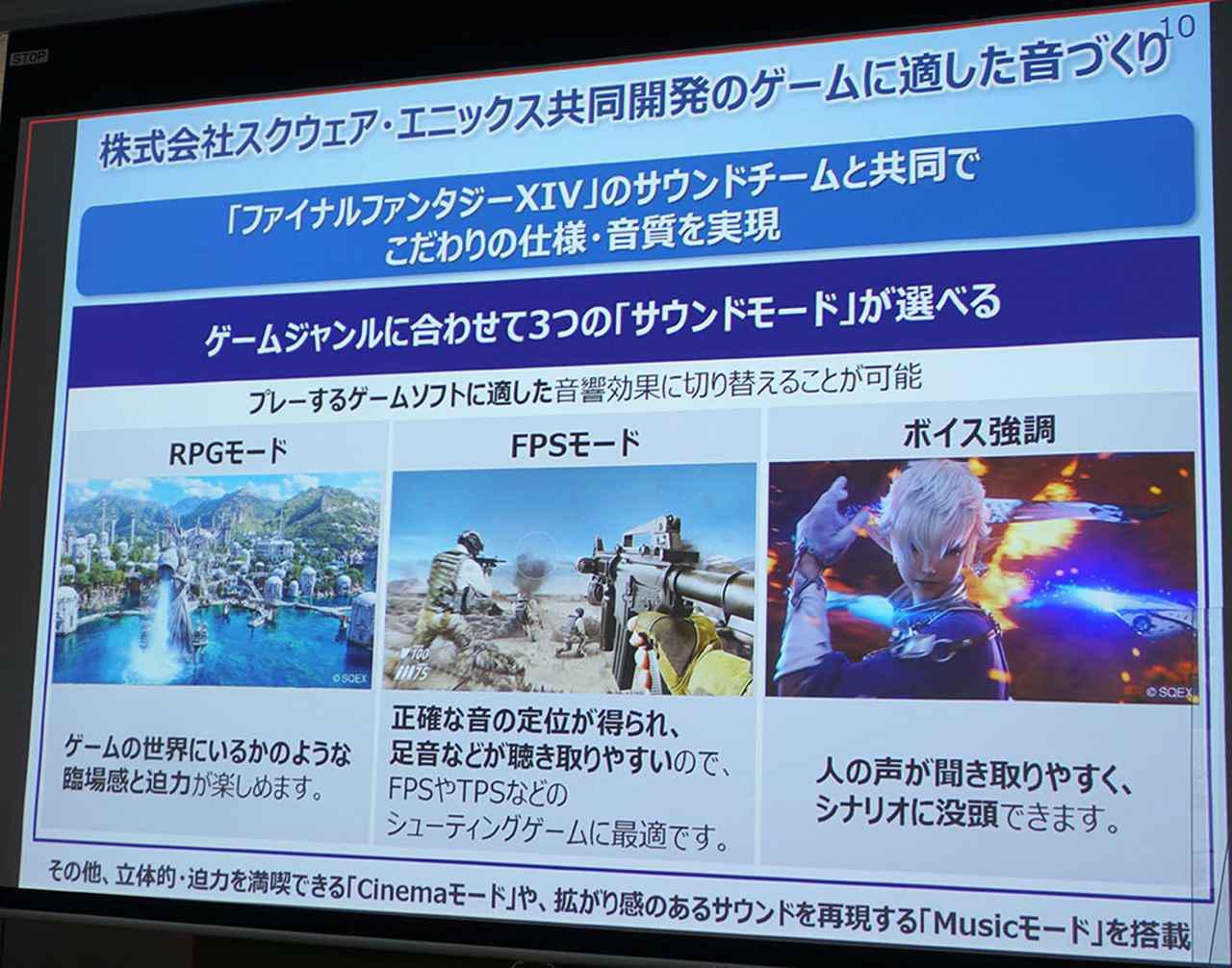 """画像2: """"ゲームで勝てる音""""を再現。パナソニックからゲーミングネックスピーカー「SC-GN01」が誕生! スクウェア・エニックスとコラボしたサウンドモードも搭載した"""