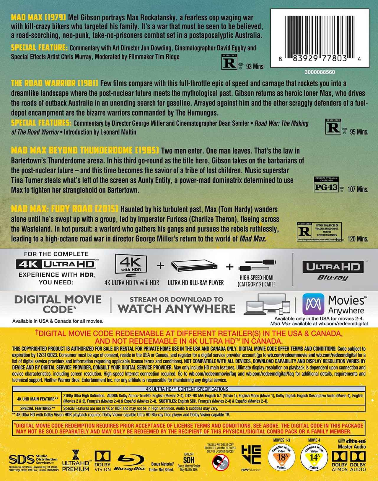 画像7: 【 UPDATE】4Kマッドマックス『マッドマックス2』『マッドマックス/サンダードーム』【海外盤Blu-ray発売情報】