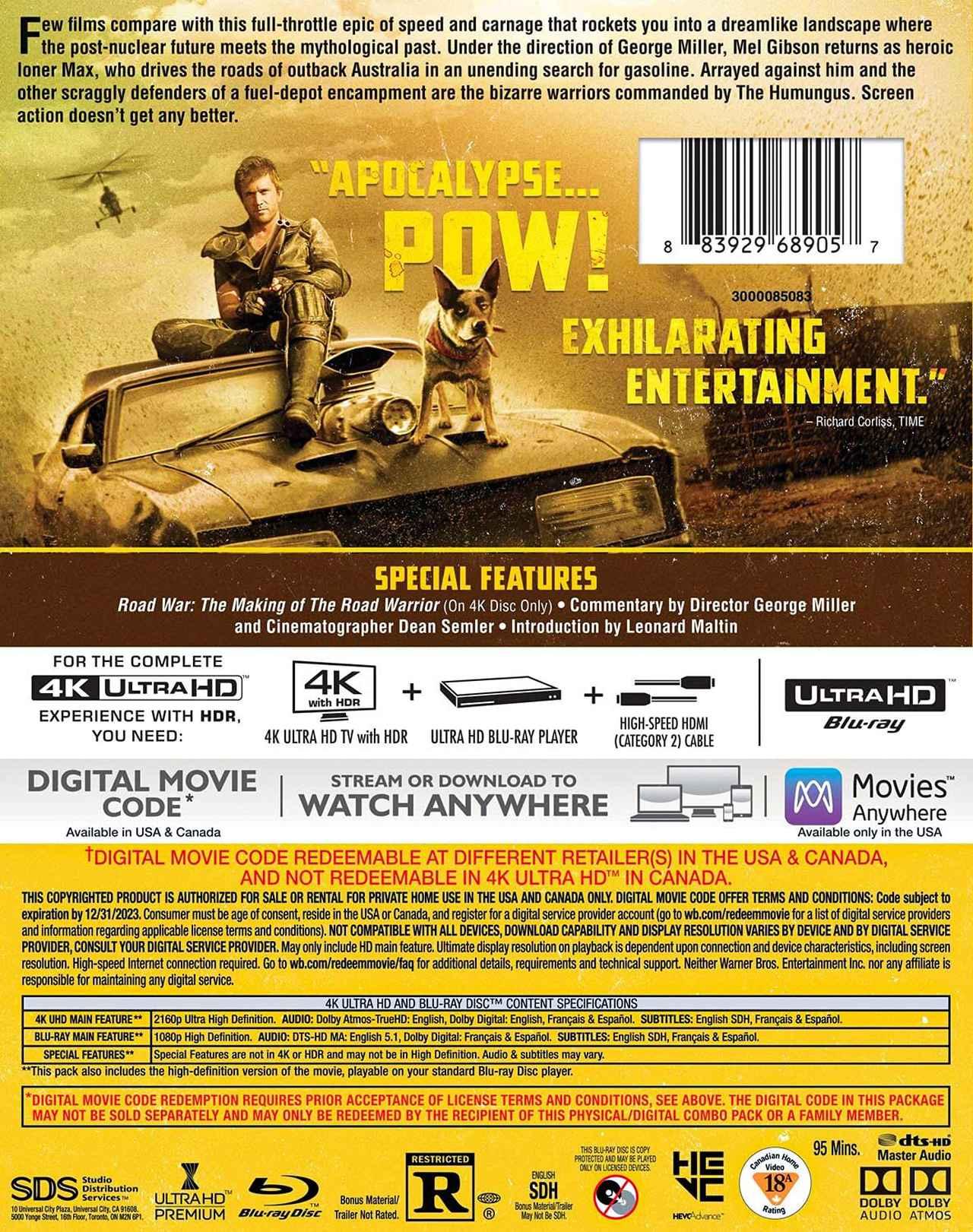画像3: 【 UPDATE】4Kマッドマックス『マッドマックス2』『マッドマックス/サンダードーム』【海外盤Blu-ray発売情報】