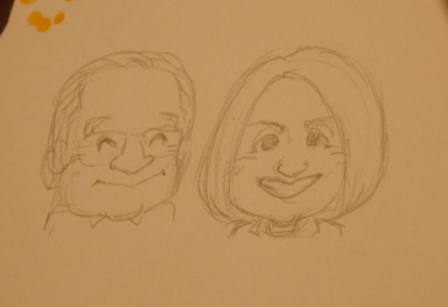 画像: ご両親の似顔絵は、下描きでこのクオリティ!