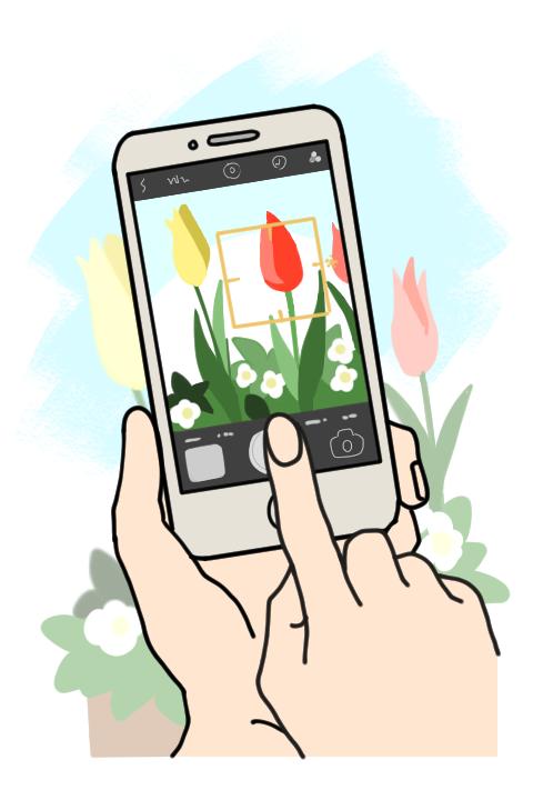 画像: 片手でiPhoneをしっかり構え、人差し指でシャッターボタンをタッチすると撮影しやすいです。