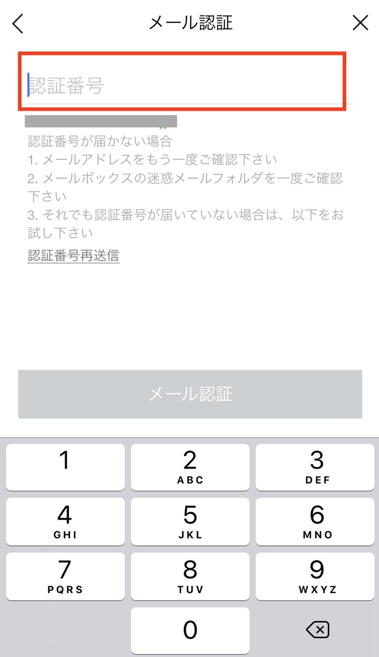 画像: メッセージが届くので、そこに表示されている認証番号を入力します。