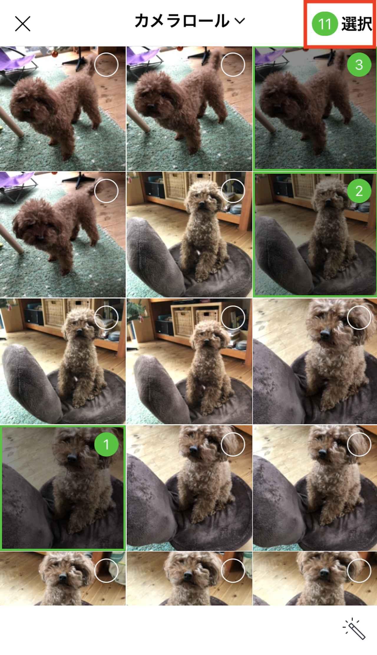 画像: iPhoneに保存されている写真が表示されるので、アルバムに入れたいもの、複数枚を指でタッチして選択します。選択が終わったら、右上の「選択」をタッチ。