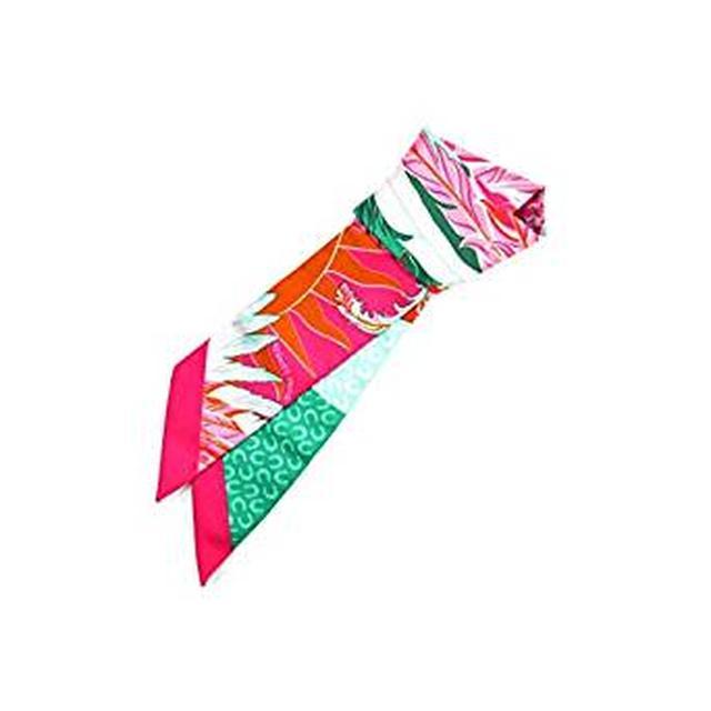 画像: HERMES トゥイリー ツイリー スカーフ リボン ピンク×グリーン×オレンジ×グレー シルク100% [並行輸入品] | スカーフ 通販