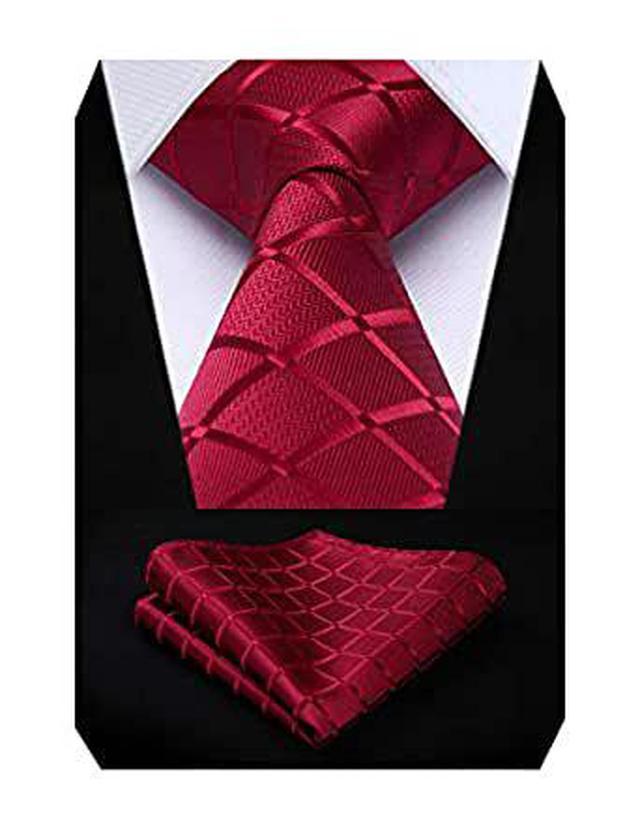 画像: Amazon | ヒスデン(HISDERN) 赤 ネクタイ セット 結婚式 ネクタイ チーフ セット メンズ ビジネス ネクタイ 礼服 おしゃれ ネクタイ ブランド プレゼント 男性 | ネクタイ 通販