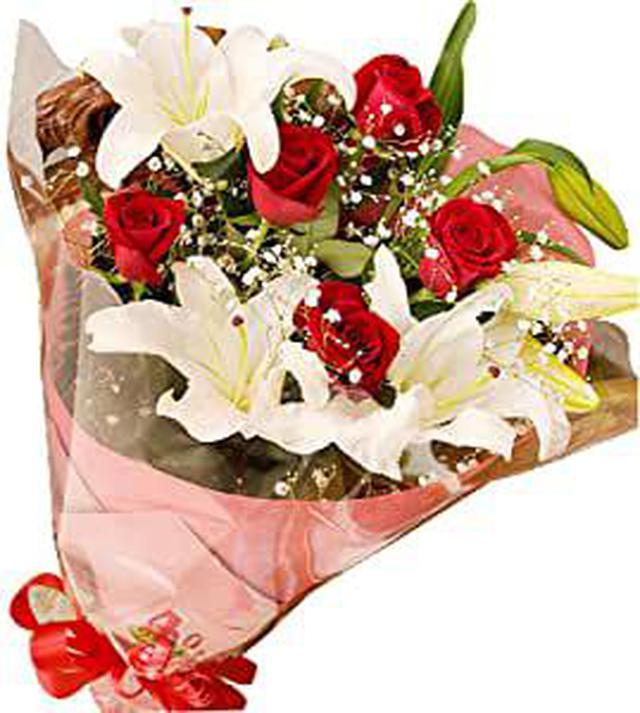 画像: お祝い用赤バラ&カサブランカ 花束
